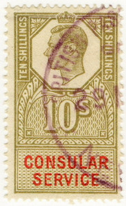 (169a) 10/- Light Olive Green & Red (1947)