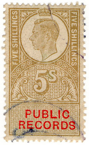 (39) 5/- Gold & Vermillion (1947)