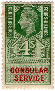 (165) 4/- Green & Vermillion (1947)