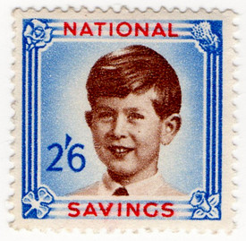(23) 2/6d Blue, Carmine & Brown [Prince Charles] (1954)