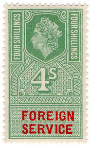 (23) 4/- Green & Vermillion (1959)