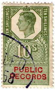 (40) 10/- Green & Vermillion (1947)