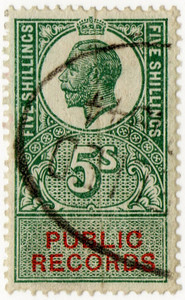 (32) 5/- Green & Vermillion (1921)