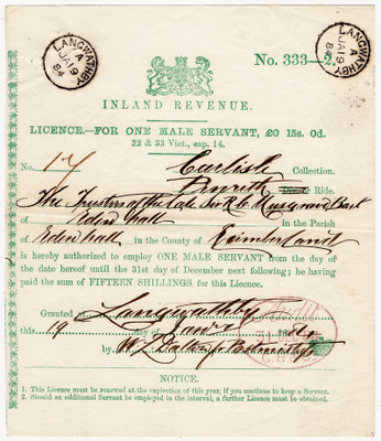 Male Servant Licence