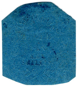 (38) 1/- Embossed on Blue Paper (1871)