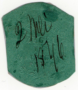 (18) 18d Embossed on Green Paper (1856)