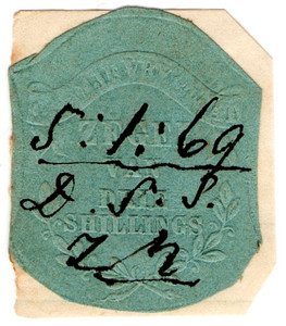 (20) 3/- Embossed on Green Paper (1856)
