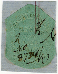 (21) 4/- Embossed on Green Paper (1856)