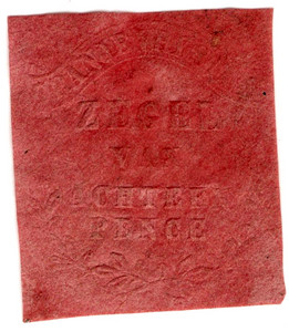 (42) 18d Embossed on Pink Paper (1856)