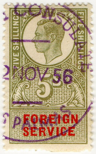 (07) 5/- Olive Green & Red (1951)