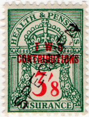 (151) 3/8d Green & Red (1945)