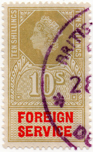 (27a) 10/- Olive & Red (1959)